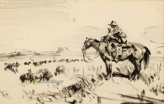 Фото-Ковбой курит на лошади